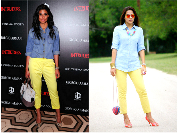 J's Everyday Fashion: Guest Post  yellow pants, chambray/linen