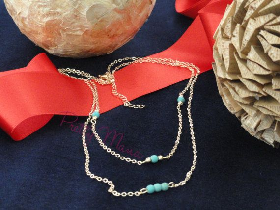 Silver or Gold Layering Necklace Gold Beaded by PrettyMaNa on Etsy