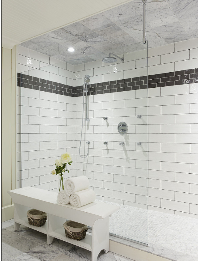 Extra Large Shower You Could Bath All The Kids At Once In This One White Subway Tile Shower Bathroom Inspiration Bathroom Design