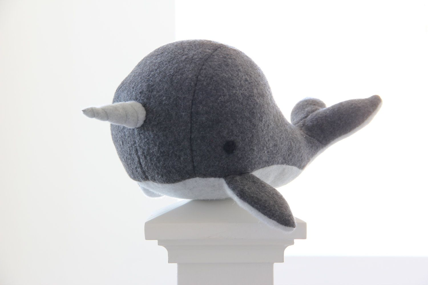 Handmade Grey narwhal soft fleece plush toy Charlie