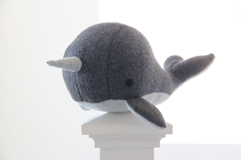 Handmade Grey narwhal soft fleece plush toy Charlie