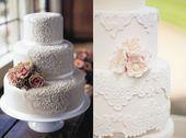 02 Spitze Hochzeitstorte Dekoration Blume beige elegant individuell Andere Spitz…