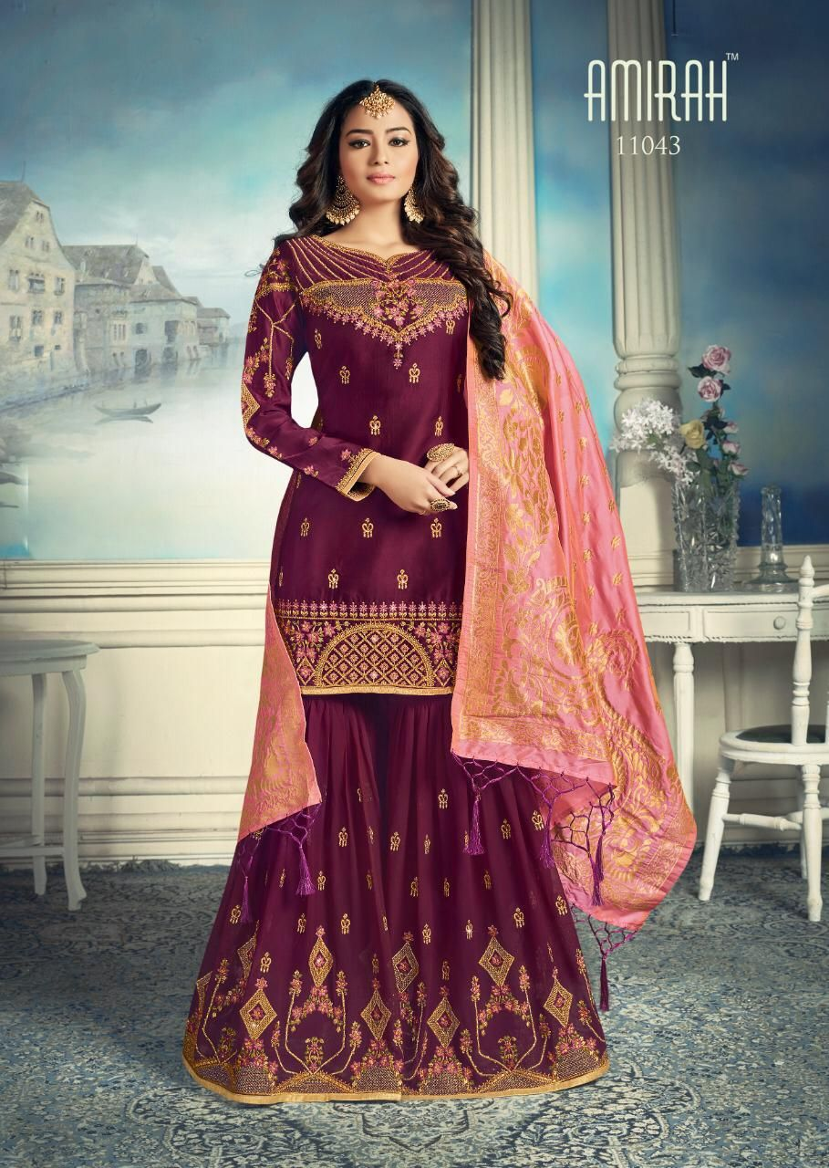 c756ddb77d Amirah Sharara Satin Georgette Heavy Embroidery HandWork Suit 11043 ...