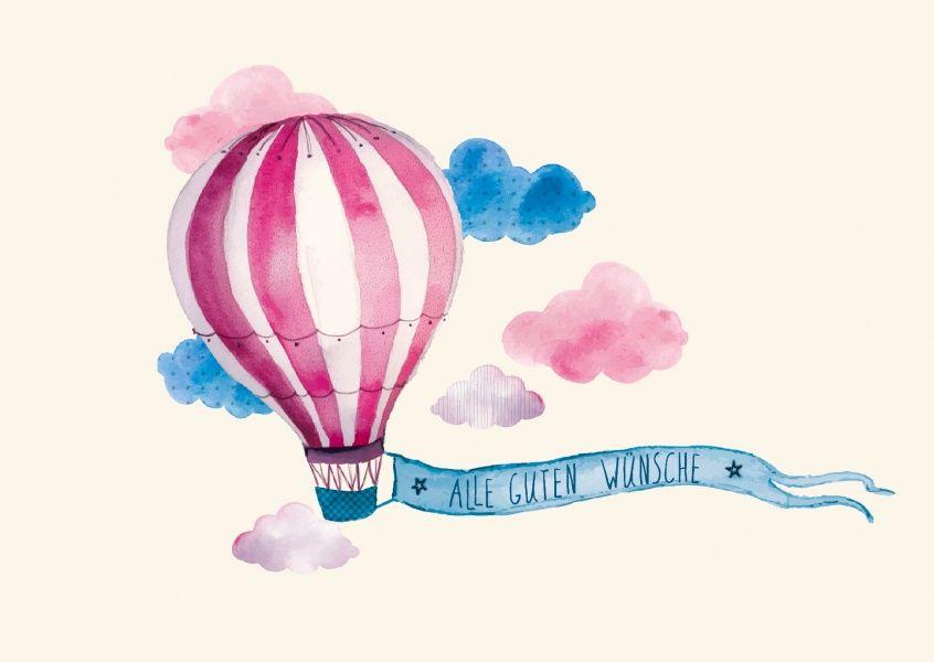 alle guten wünsche -- heißluftballon   glückwünschkarten