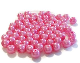 "8mm Glass Beads, Hot Pink 8mm Round Glass Pearl Bead, 8mm Beads, 55 Pearls, Pink Round Beads, Pearl Beads, 16"" Strand of Pearls by vickysjewelrysupply. Explore more products on http://vickysjewelrysupply.etsy.com"