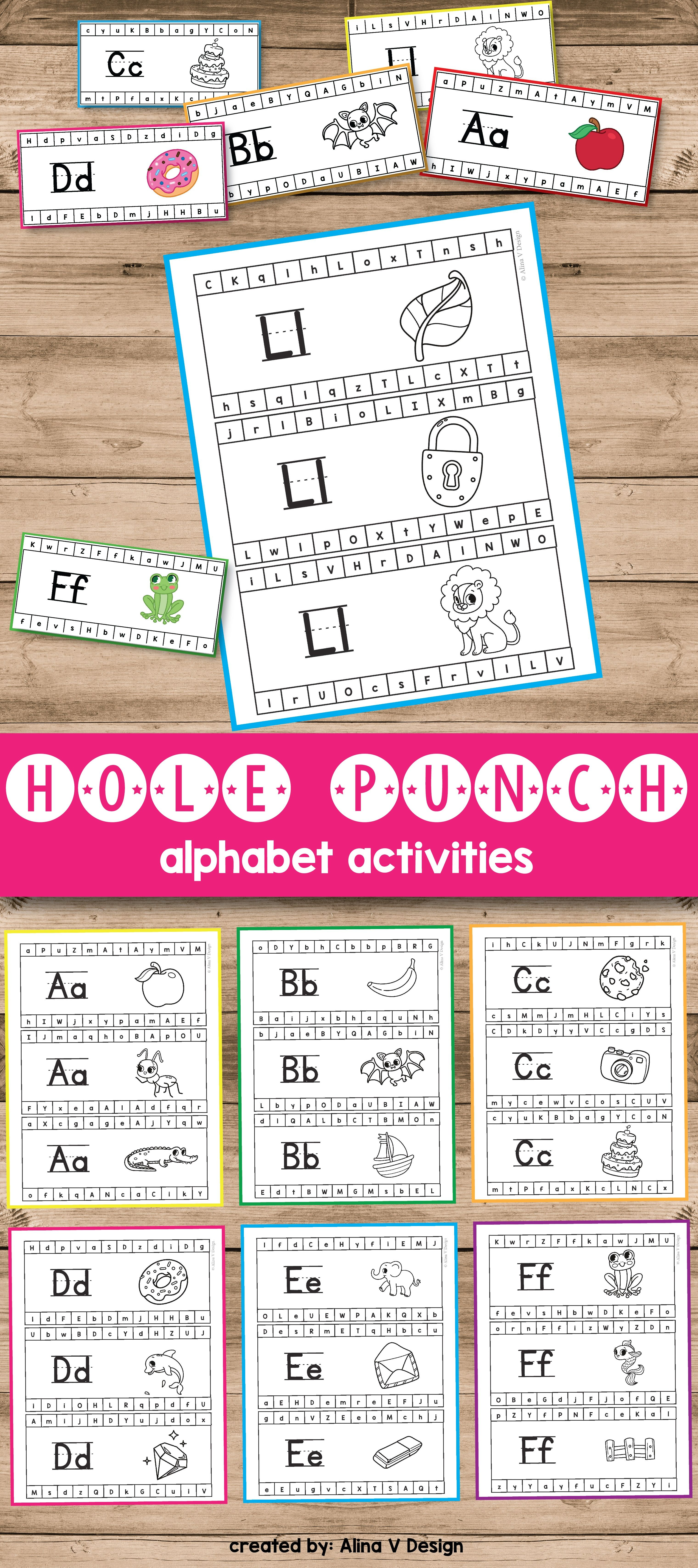 Hole Punch Activities (Alphabet Hole Punch Cards) | Motor activities ...