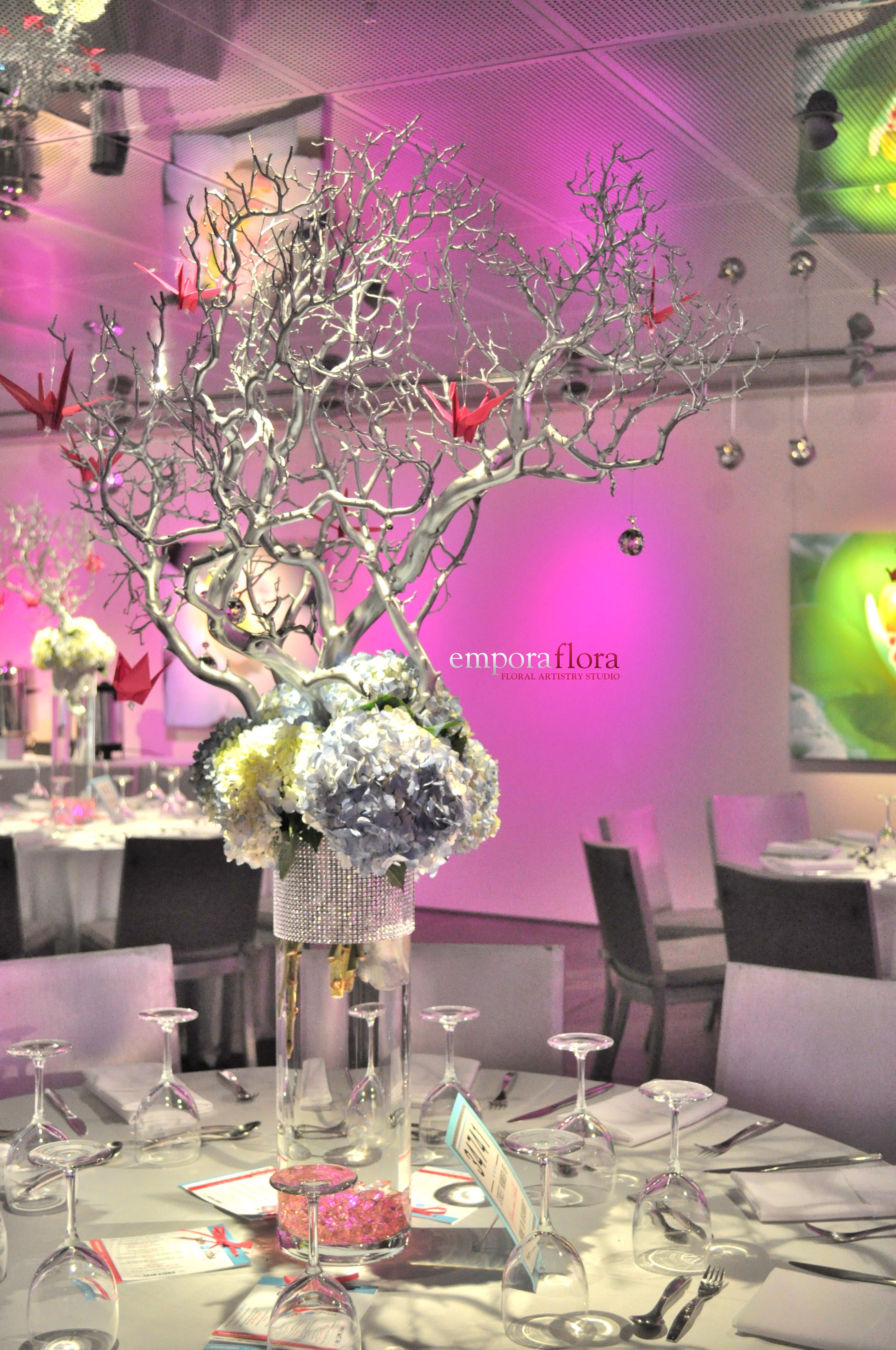 Custom Wedding Reception Centerpieces - Branches, Crystals, Origami ...