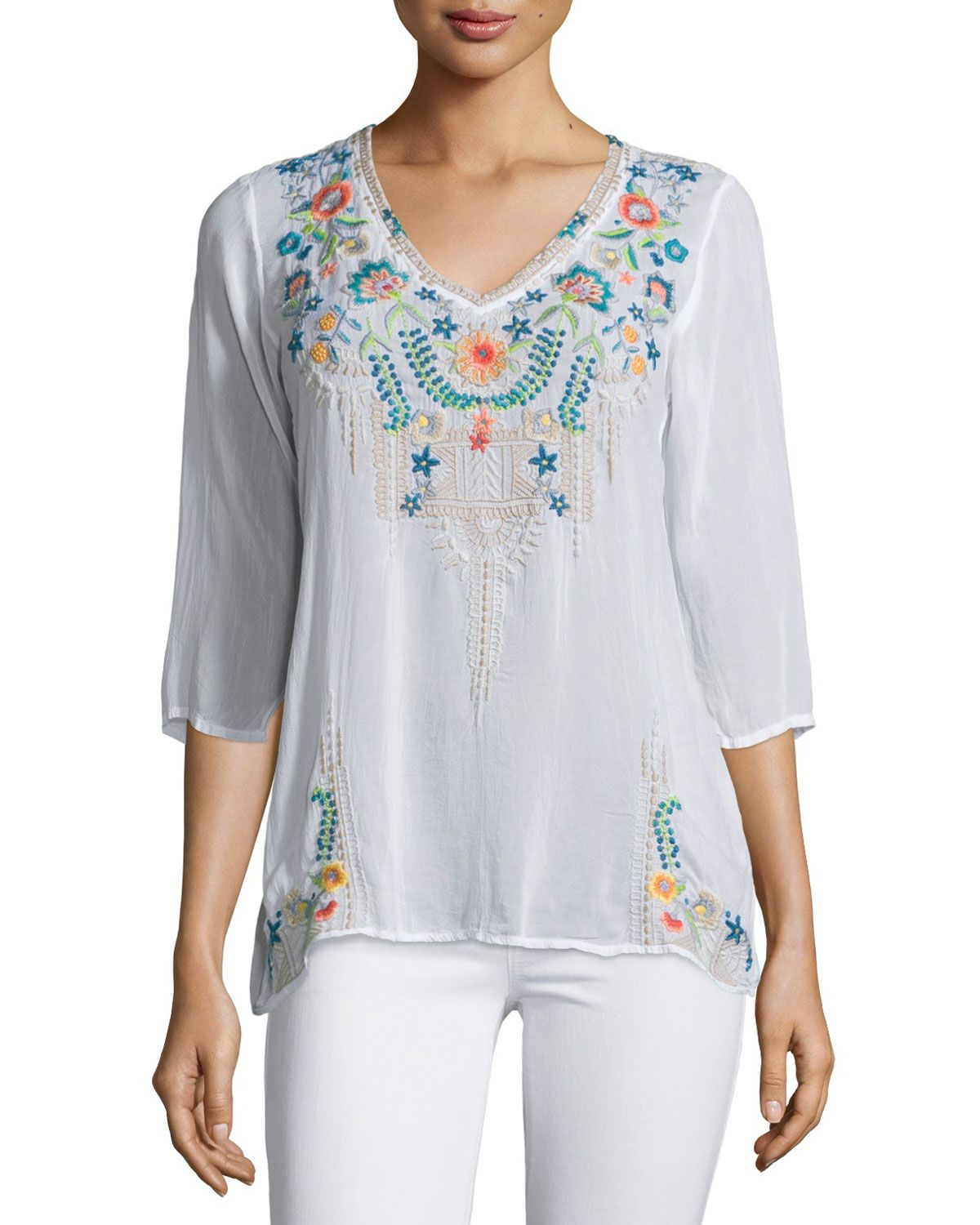 Tropic 3/4-Sleeve Embroidery Blouse, Plus Size, True Blue - Johnny Was Collection