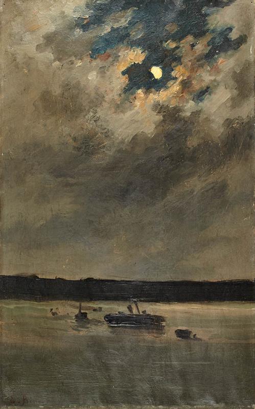 Emile Renouf (French, 1845-1894) Moonlight Marine (Marine au clair de lune), N/D