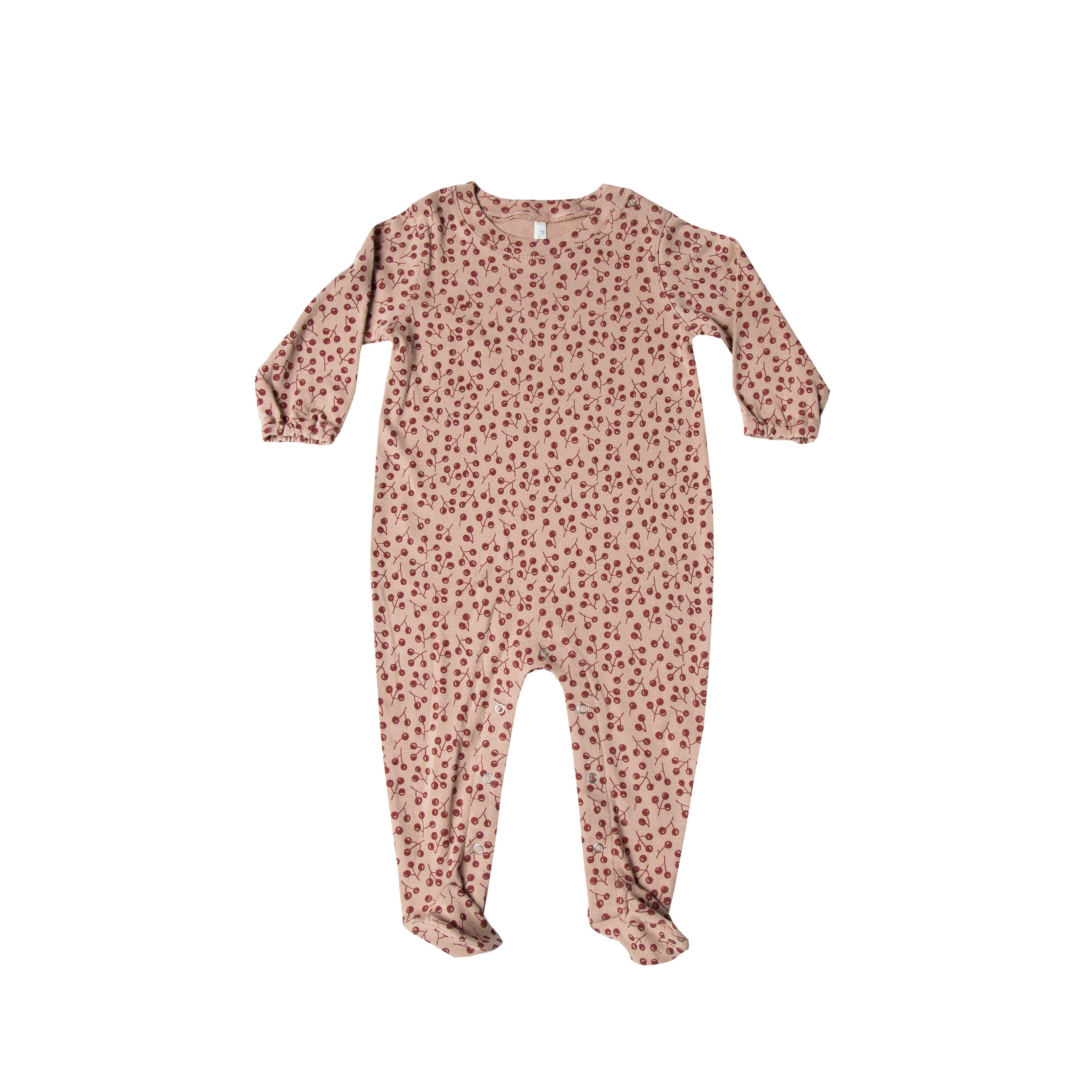 310ae82167  NEW - Rylee and Cru HO17 Organic Winter Berry Footed Onesie in Dusty Rose