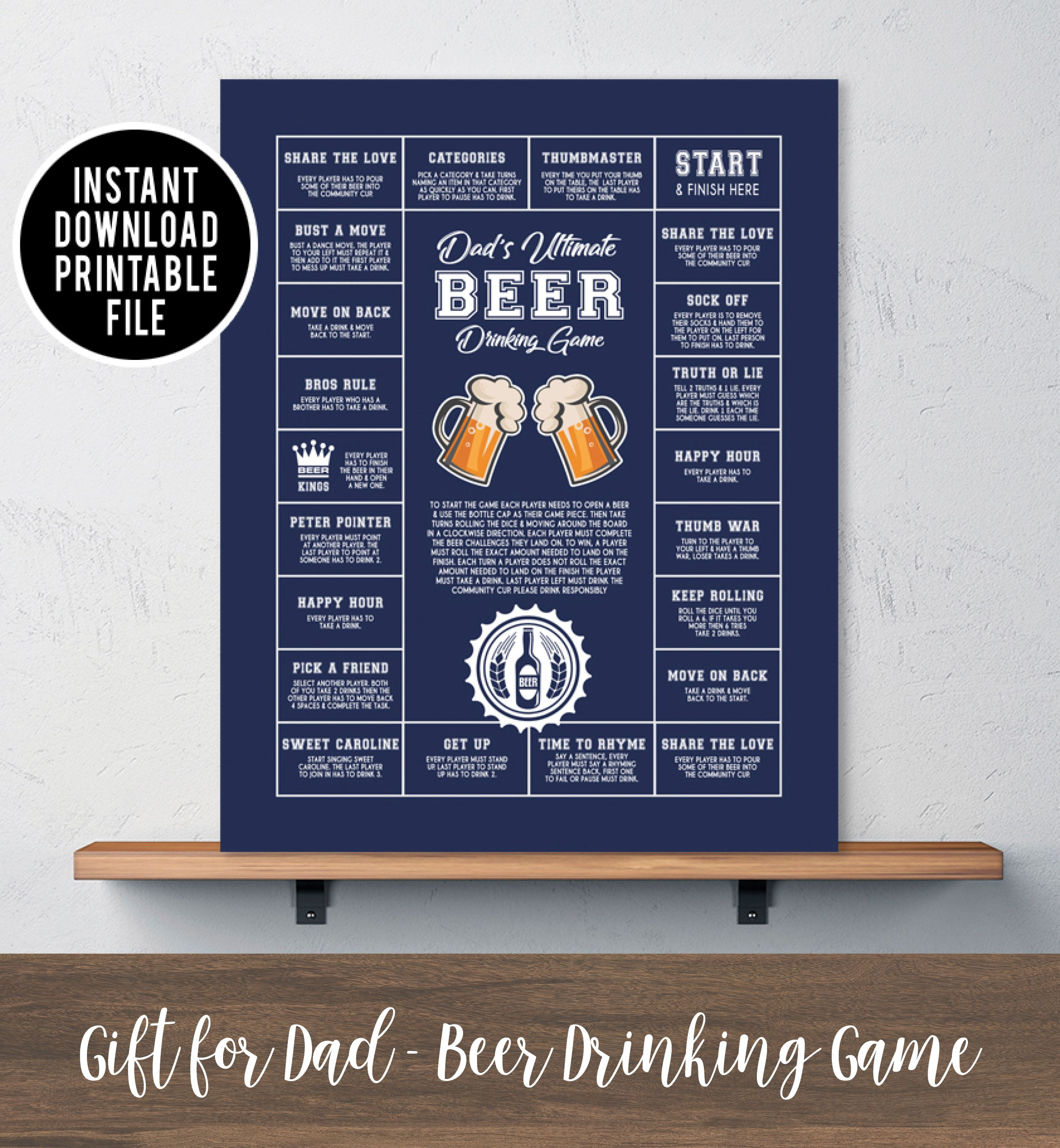 Fathers day gift ideas for dad. Birthday gift for dad. Gifts for Him Last minute gift idea Personalized Beer Drinking Game Printable art. INSTANT DOWNLOAD & Fathers day gift ideas for dad. Birthday gift for dad. Gifts for Him ...