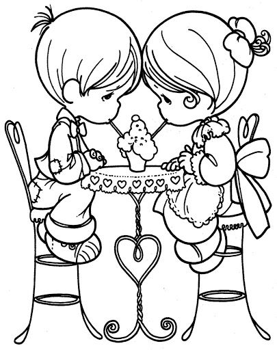 Loving Couple Precious Moments Coloring Pages Valentines Day
