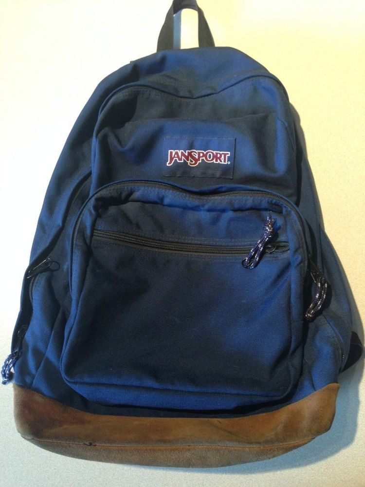 079cdd917d Vintage 90s JANSPORT Suede Leather Bottom BACKPACK Bookbag Navy Blue   JanSport  Bookbag