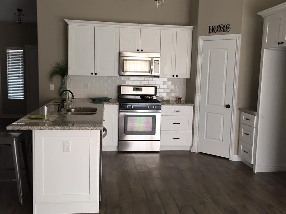 White Shaker Cabinets, White Subway Tile Backsplash, Bianco Antico Granite  Countertops, Allen +