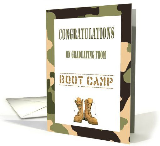 Congratulations boot camp graduation camo combat boots card military boot camp graduation card can be printed and picked up at any target store m4hsunfo