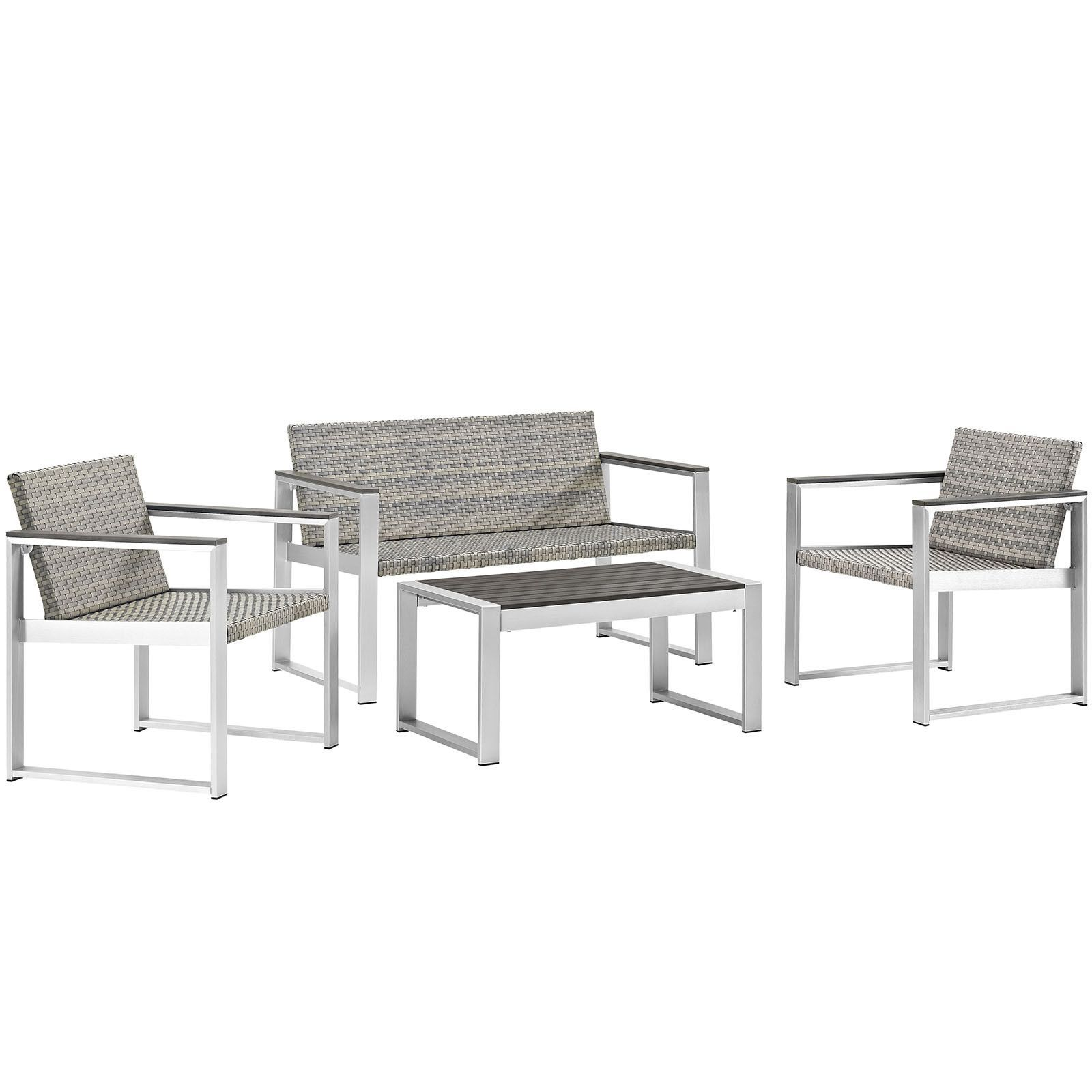 Embark 4 Piece Outdoor Patio Aluminum Patio Conversation Set