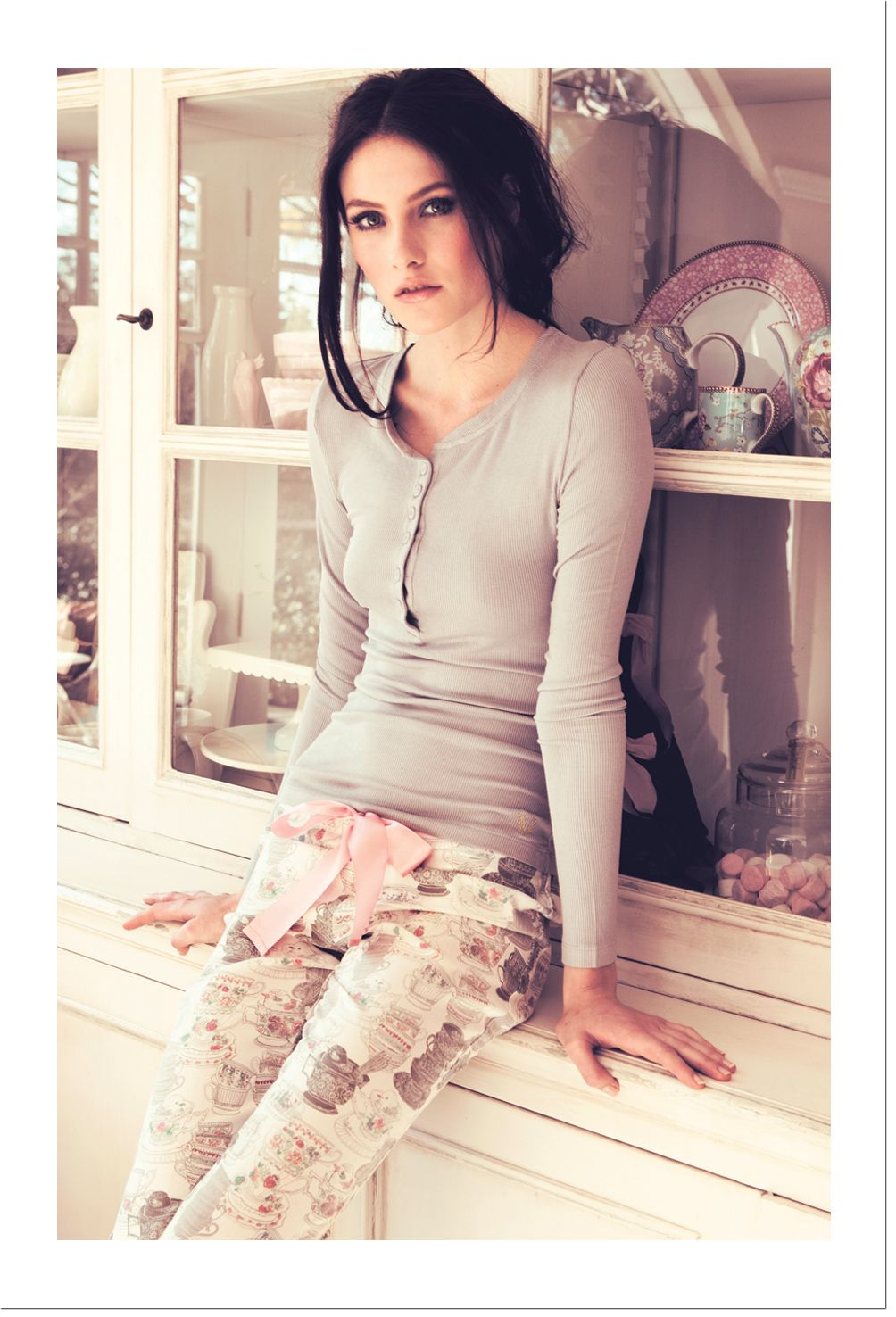 Tea Cup PJ Pants & Candy tee in Dove Grey - comfy yet stylish look | deshabille