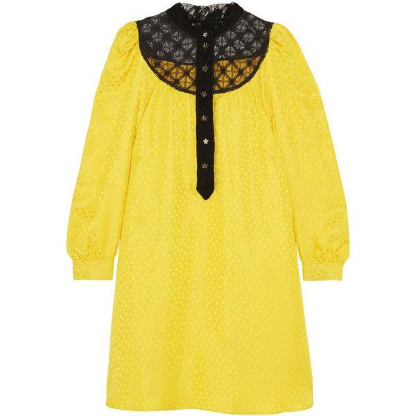 Lace And Velvet-trimmed Satin-jacquard Mini Dress - Yellow Philosophy di Lorenzo Serafini oF69K6tu