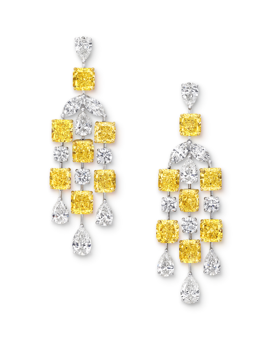 Yellow and white diamond chandelier earrings diamond chandelier graff diamond yellow and white diamond chandelier earrings total 3827 carats arubaitofo Choice Image