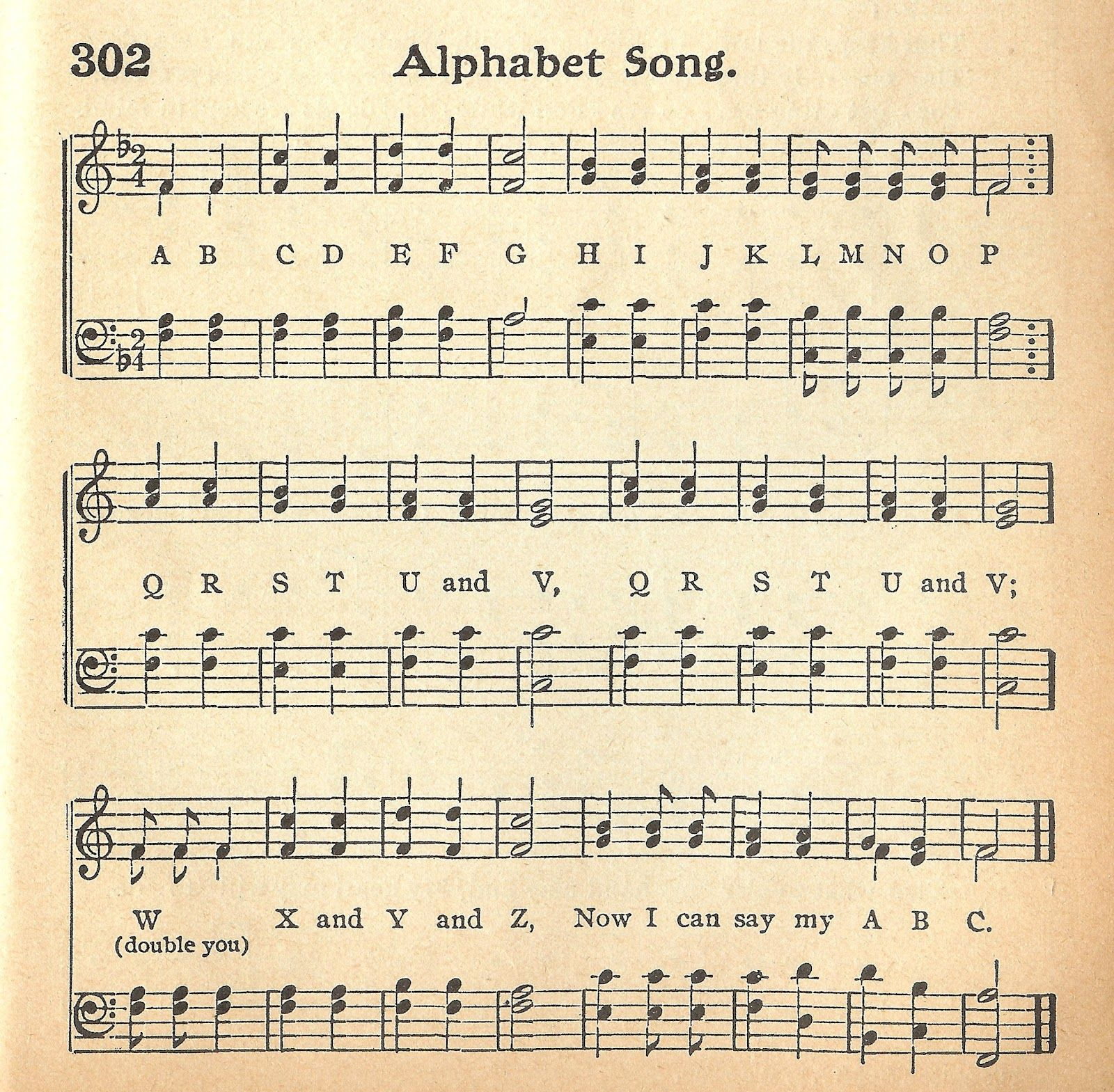 Alphabet Song Vintage Graphics Music Printables