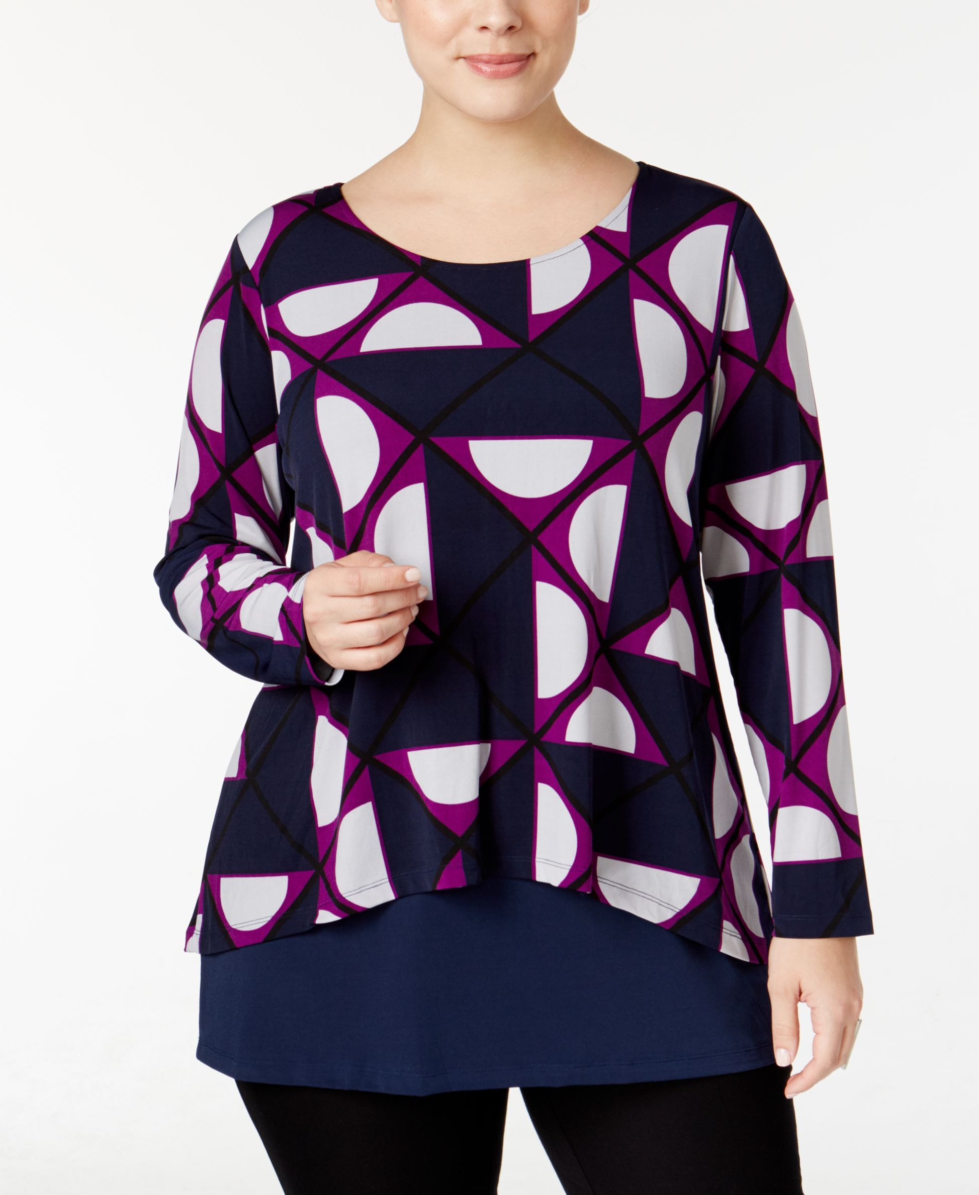 Alfani Plus Size Printed Layered-Look Top, Only at Macy's