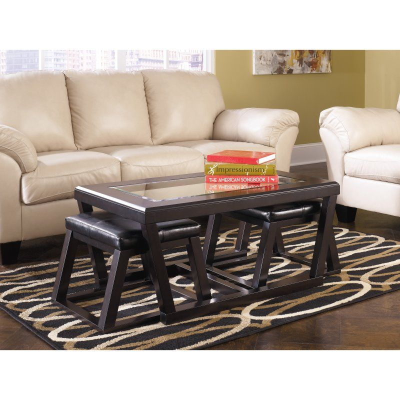 Signature Design By Ashley Kelton 3 Piece Coffee Table Set Coffee Table Coffee Table With Seating Coffee Table With Stools