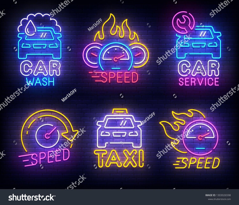 Automotive set neon logo. Car Wash. Taxi and Car Service