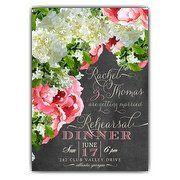 Hydrangea Fleur Bouquet Chalk Rehearsal Dinner Invitations