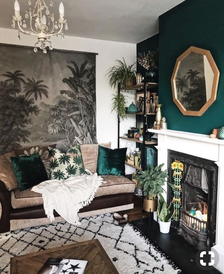 Forest Green And That Mirror Moody Living Room Rooms Home Decor Living Room Green