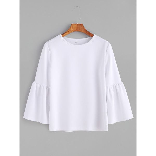 4d9a074f1eea93 SheIn(sheinside) White Round Neck Bell Sleeve T-shirt ( 12) ❤ liked on Polyvore  featuring tops