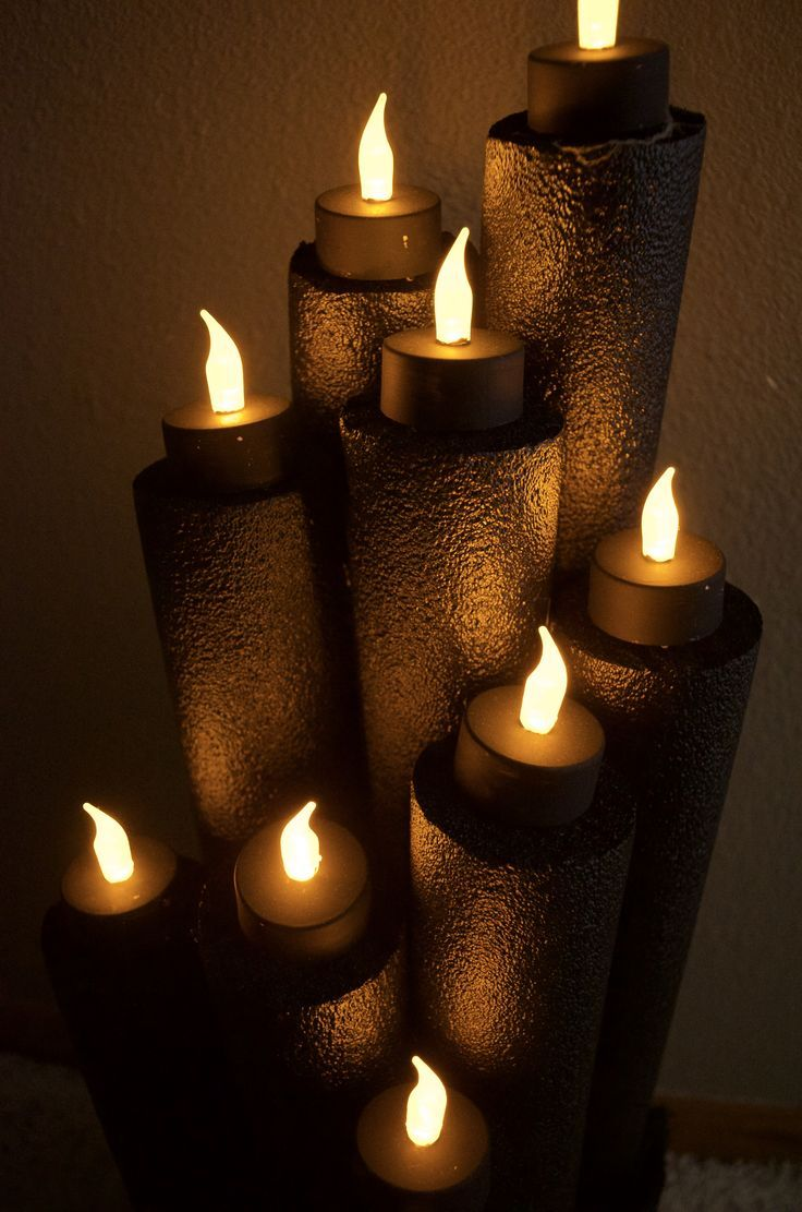 recycled pool noodle halloween flameless candle decor | diy crafts
