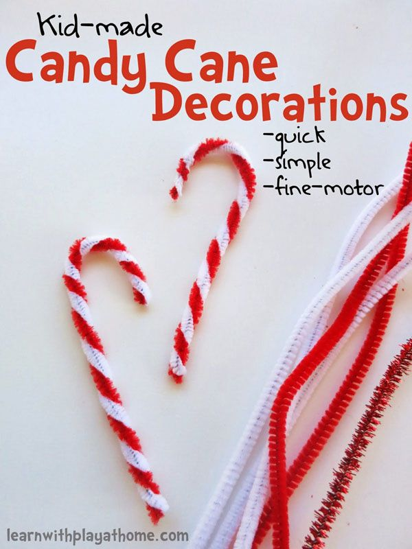 Kid-Made Candy Cane Decorations |Featured with 33+ Handmade Christmas Ornaments to Make with Your Kids! {OneCreativeMommy.com