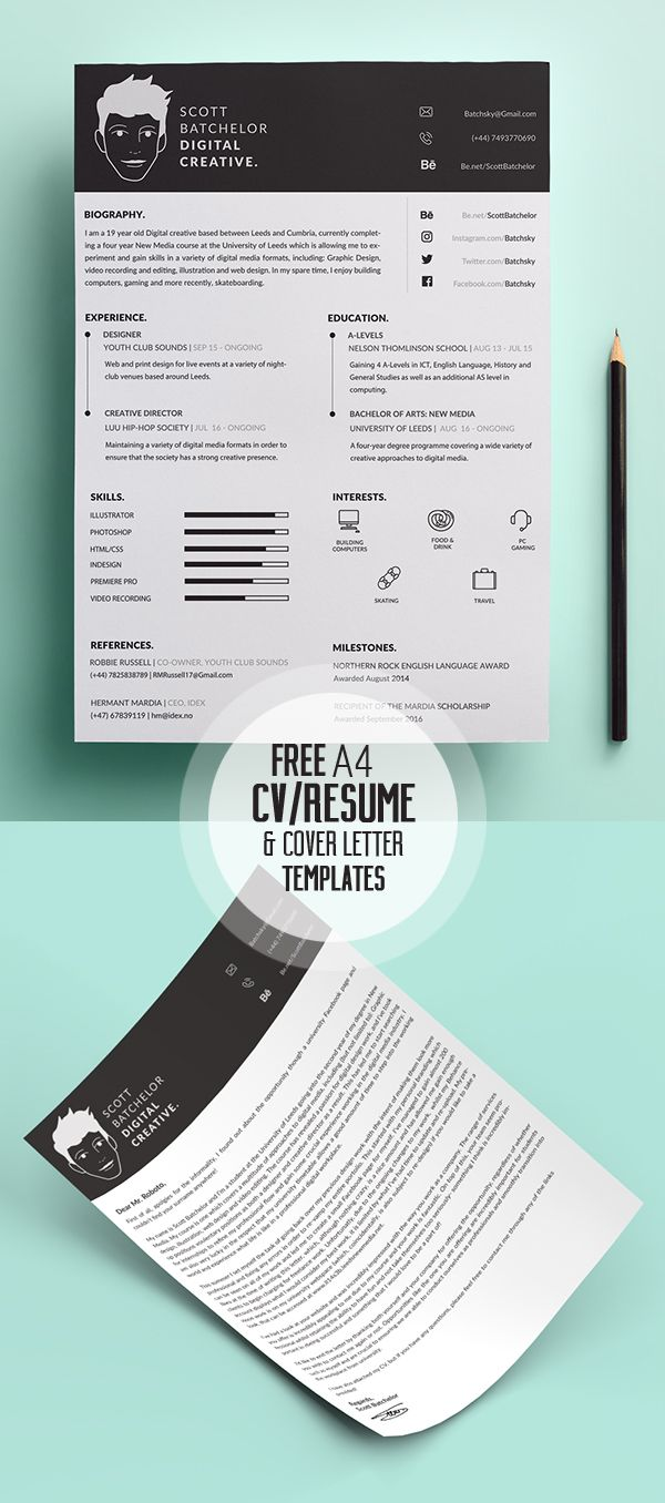 17 Free Clean Modern CV / Resume Templates (PSD