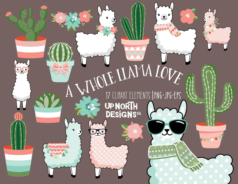 Llama Clipart Cactus And Llamas Illustrations Cute Pastel Etsy Llama Clipart Clip Art Art Projects