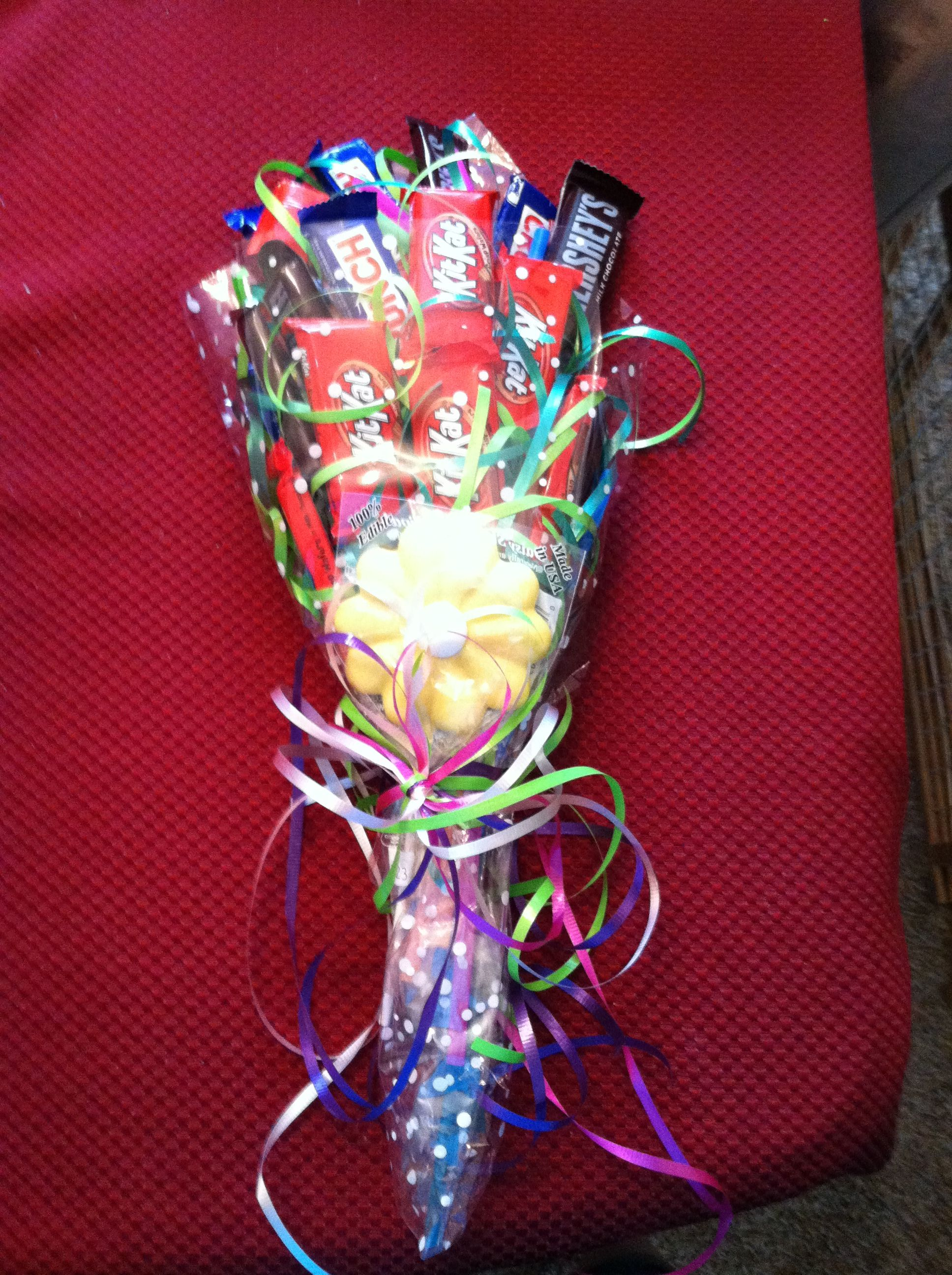 Candy bouquet Great for dance recitals instead of flowers Craft projects