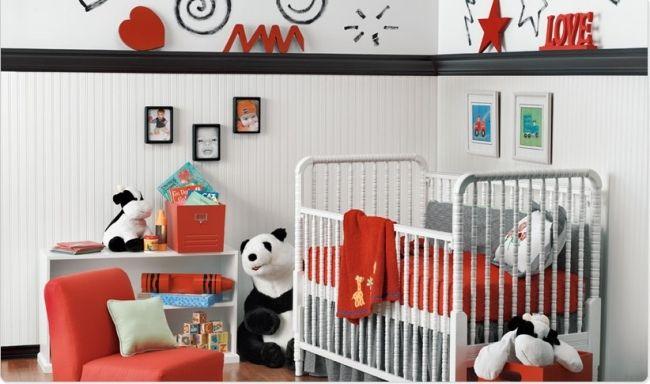 schwarz rot panda wohnideen für babyzimmer neutrale designs