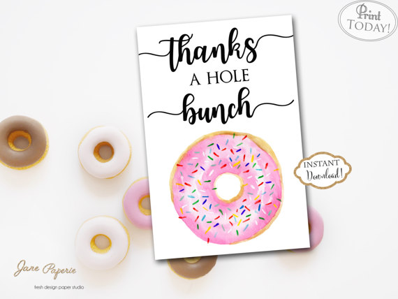 Instant Download  Pink Donut Thank You Card  Doughnut Thank You