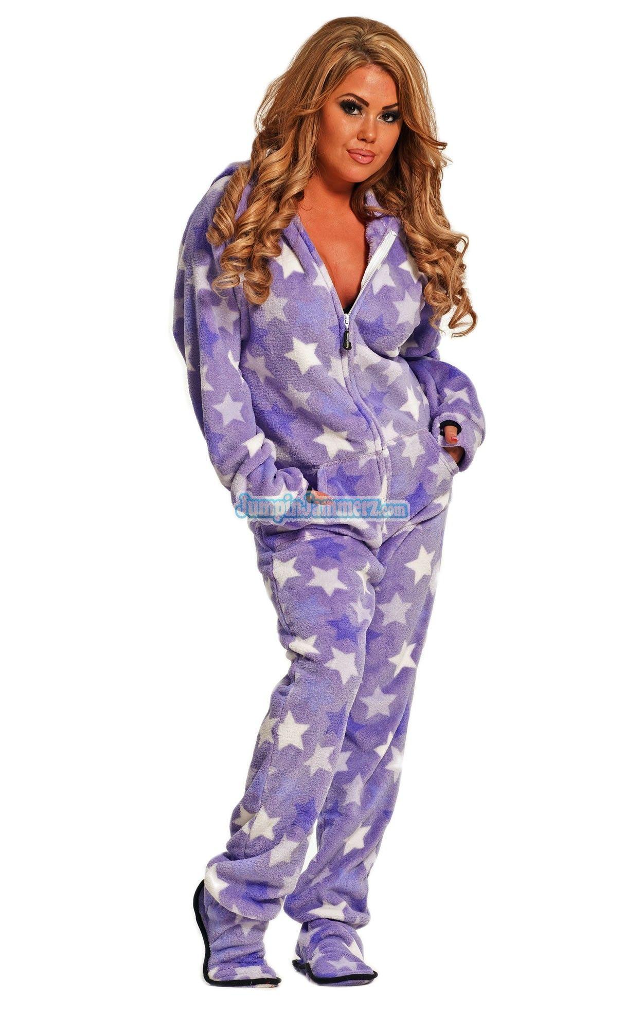 Gold Stars Chenille Hoodie Footed Onesie Pajama