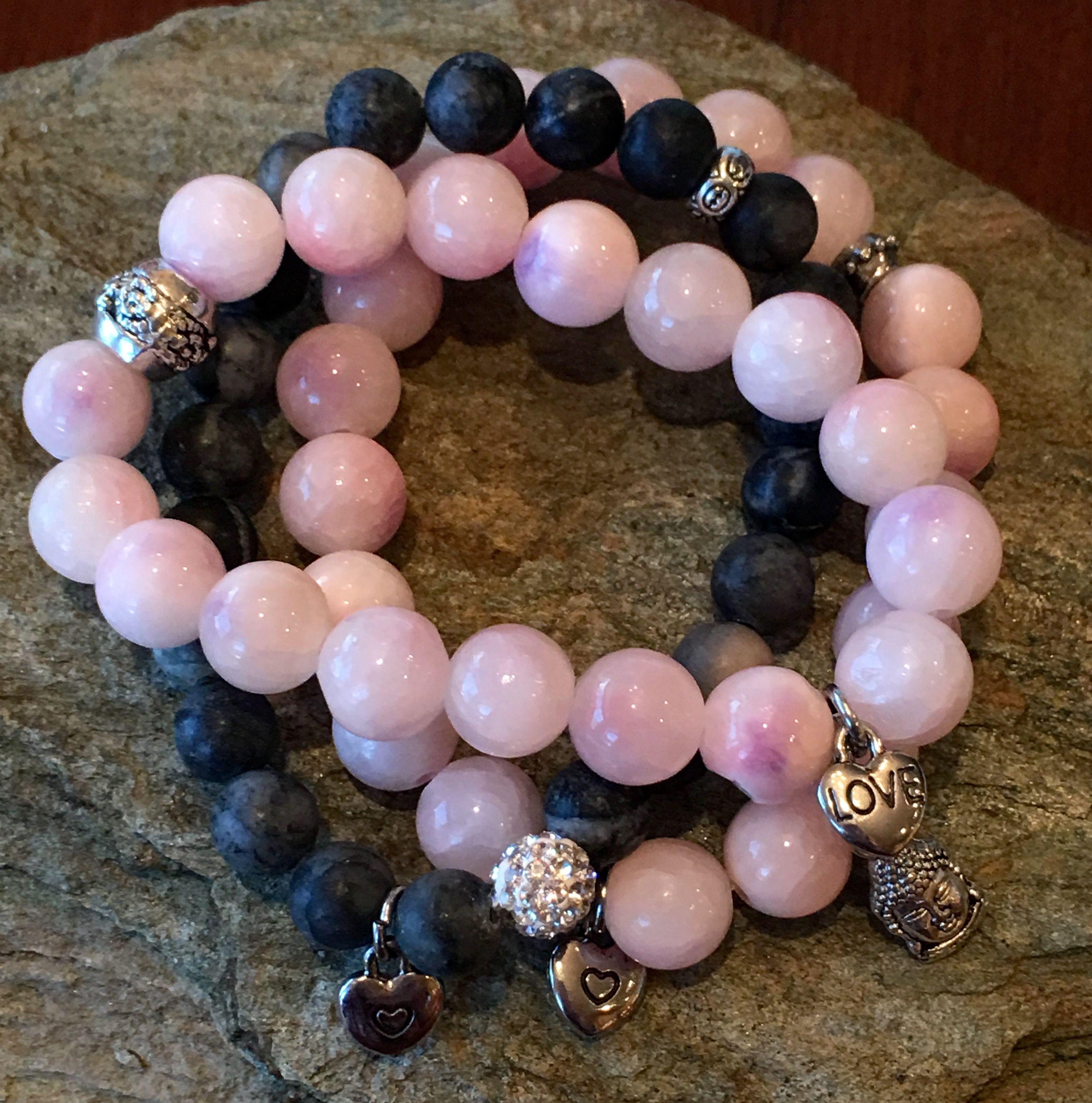 #Pink & Black #Crystal #Buddha Love Bracelets etsy.com/shop/KarmicSparkle