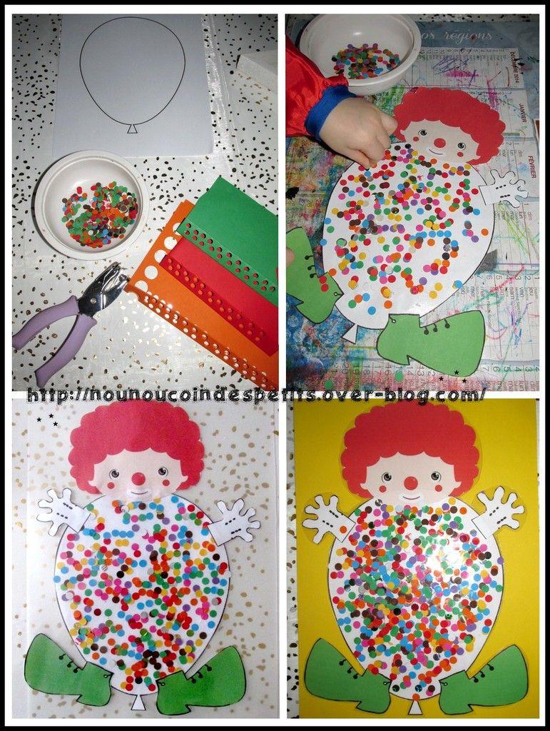 ballon clown confettis papier et carton bricolage enfant pinterest carnaval. Black Bedroom Furniture Sets. Home Design Ideas