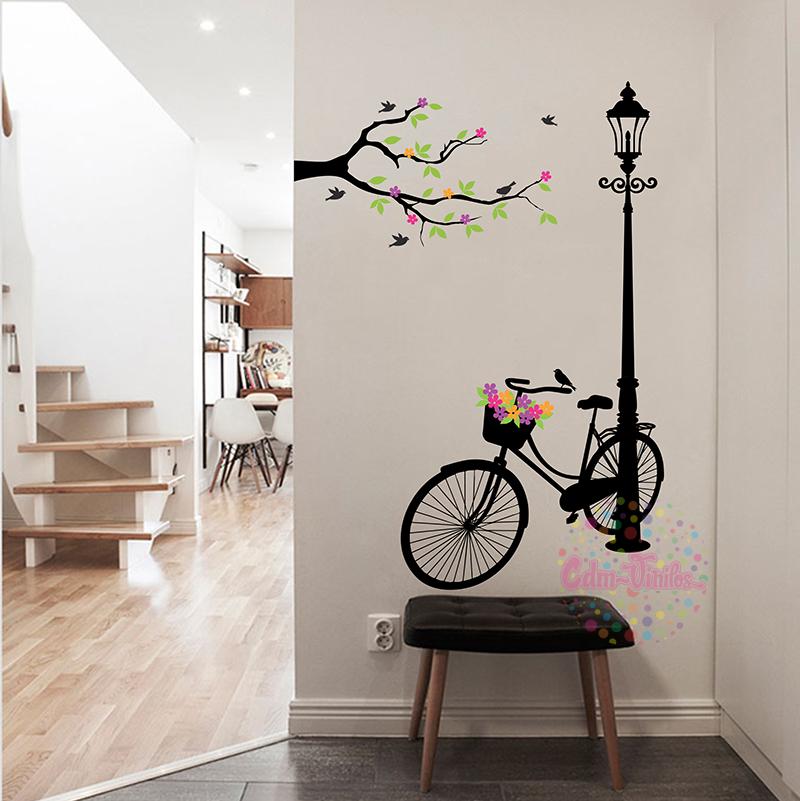 Vinilo decorativo bicicleta en farol con rama w402 cdm - Vinilo de pared decorativos ...