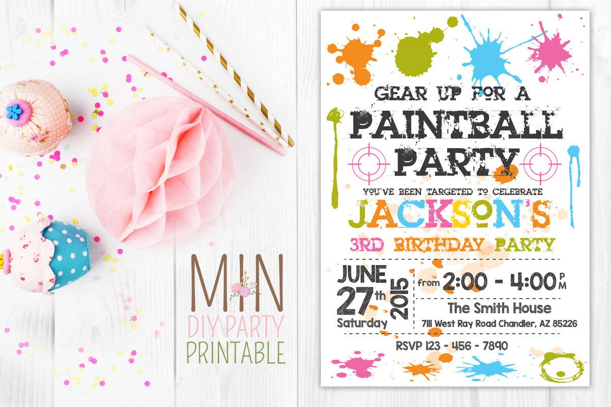 Paintball Invitation, Paintball Invite, Paintball Birthday Party ...