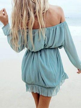 Blue Off Shoulder Panel Flounce Hem Ruched Dress | Choies
