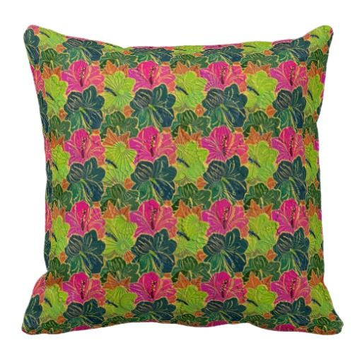Green And Pink Rustic Floral Pattern 2 Pillow