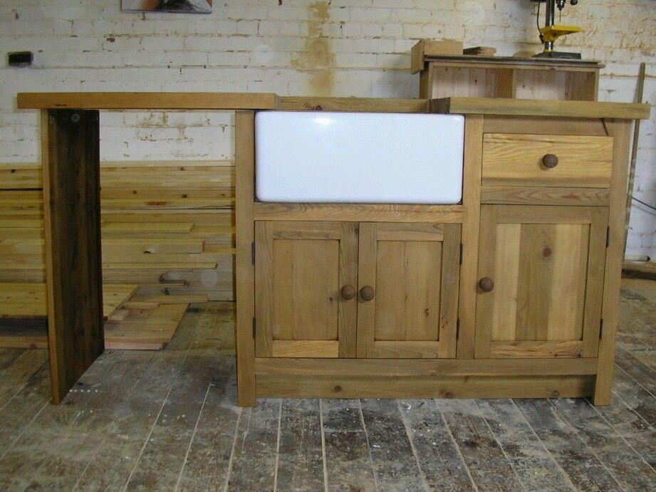 Delightful Belfast Sink Units,pine Worktops+free Sink
