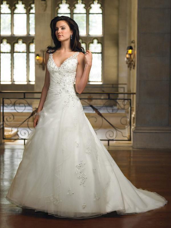 V-neck Straps Lace Crystal Beaded A-line/Princess Wedding Dress ...