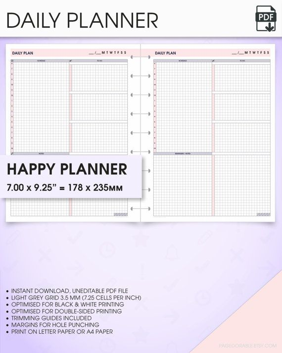 image regarding Happy Planner Printable Inserts identified as Everyday joyful planner inserts undated printable do1p (day-to-day