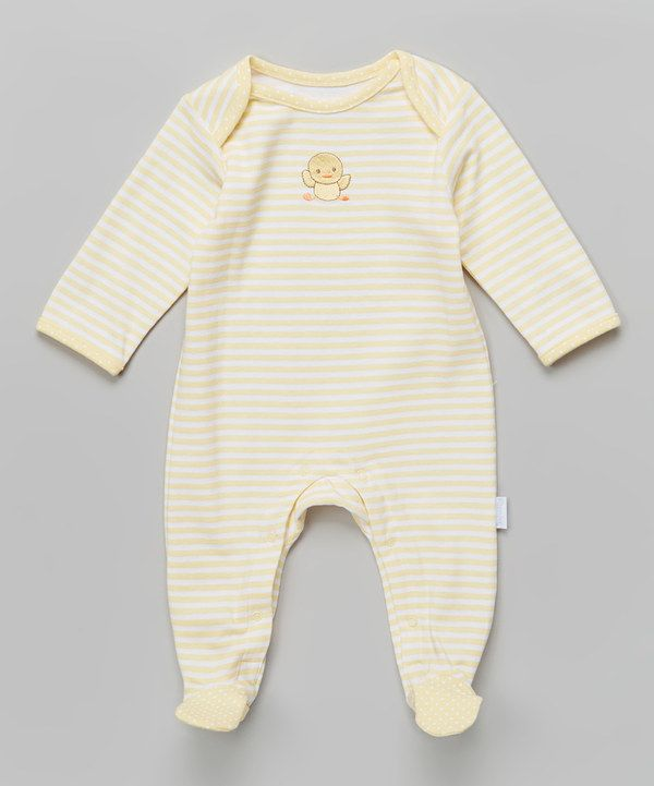Look at this Vitamins Baby Yellow Stripe Duck Applique Footie - Infant on #zulily today!