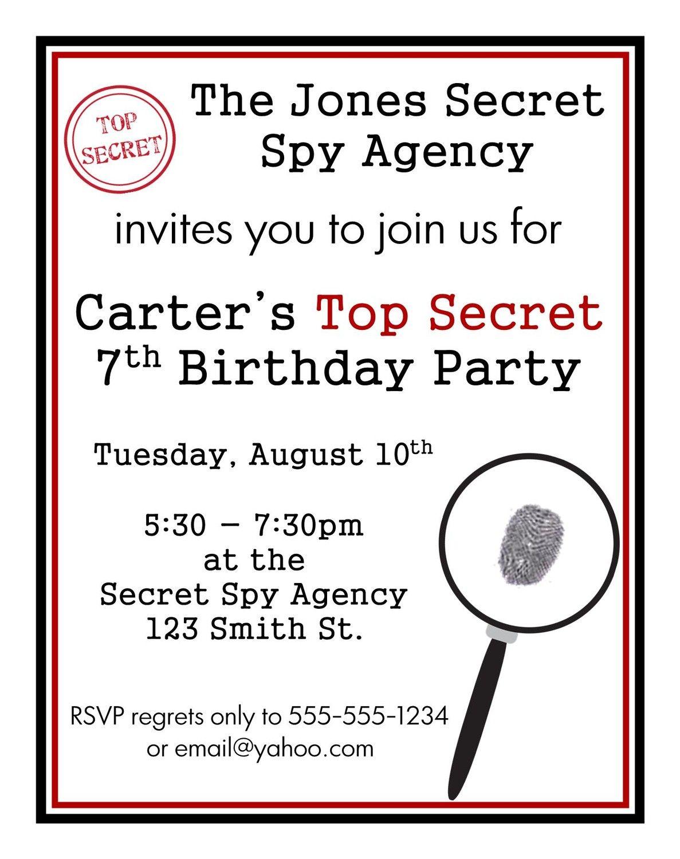 Personalized Secret Agent Spy Birthday Invitations. $5.00, via Etsy ...