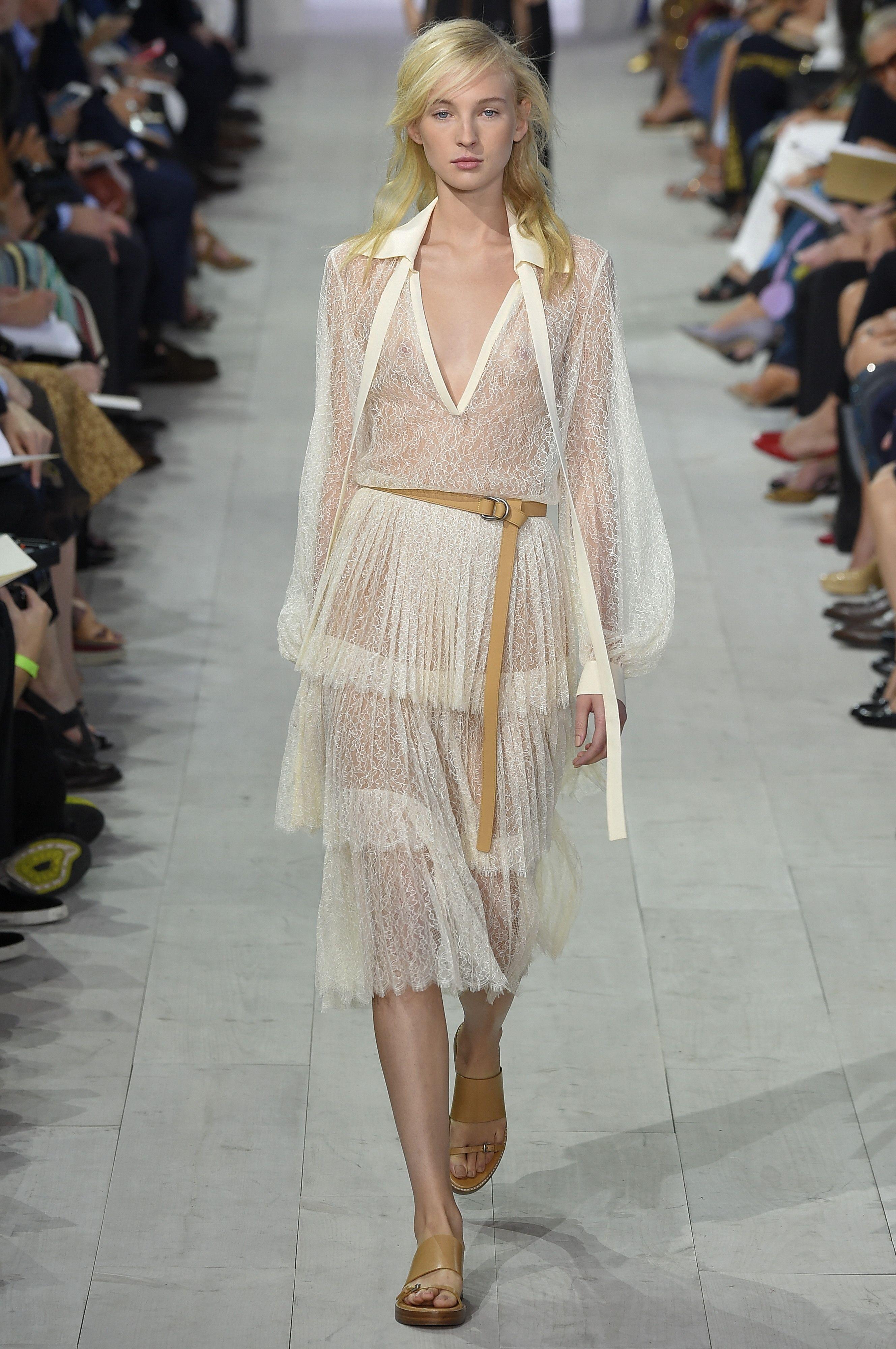 #Michael_Kors #Renda #Plissada #Off #White #Dress #Desfile #Vestido #Trend